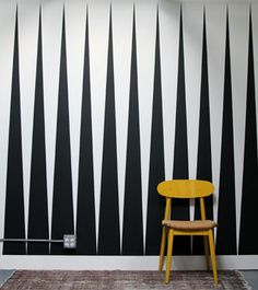 Tim Balon // Studio // black and white triangle painted wall