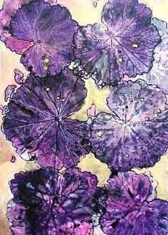 """November's Garde 11 - Monoprint by Belinda """"BillyLee"""" NYE (Printmaker) Nature Prints, Art Prints, Plum Art, Gelli Arts, Gelli Printing, All Things Purple, Patterns In Nature, Art Background, Diy Painting"""