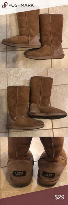 Uggs, Size 8, Used Condition, Bought in Sydney, AU Please see photos for all signs of use.  Right boot has a hole in the toe area than has been repaired once.  Left has obvious water stains.  Soles are worn in spots.  Inside sheep skin is in good condition.  My husband travels at least once a year to Sydney and gets Uggs for us there since the cost is lower than in the US.  Original price reflects US price as I do not know how much he paid for them.  Be aware you are buying them at used…