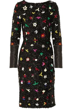 Sequined linen-blend dress by Suno