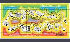 """De kinderpostzegels uit 2003 met het thema """"Kind en cultuur"""". Ontwer: Annelys de Vet"""
