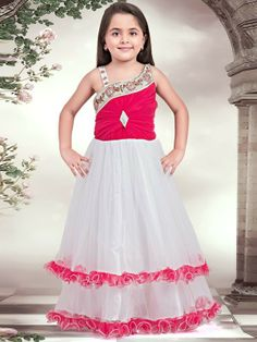 White And Hotpink Color Long Frock