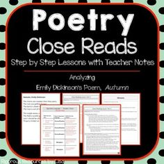 Having trouble teaching your students how to read complex text? Need help analyzing poetry? This product comes with step-by-step lesson plans and detailed teacher notes. Included:- Close Read Part 1