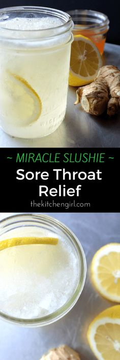 Sore throat pain? You'll LOVE this Miracle Slushie Sore Throat Relief recipe! Ginger, honey, lemon juice, water. Blend with ice cubes for slushie. Can add turmeric, cinnamon too.