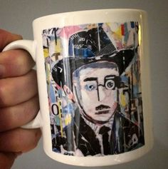 😊 FERNANDO PESSOA 😊 MUG COLLECTION by ©philippe patricio 😊 small edition by the artist 😊printed on both sides // more info: philippe.patricio... 😊 Torn Paper, Collage Artists, Shape And Form, Print Artist, Lisbon, Portugal, Art Pieces, Portraits, Hand Painted