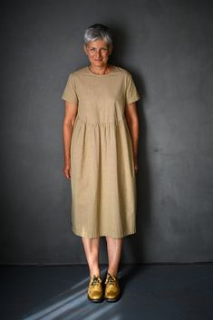Fabric requirements: Finished Measurements in cm: UK Sizing: Linen Dress Pattern, Simple Dress Pattern, Sewing Clothes, Diy Clothes, Clothes For Women, Sewing Dresses For Women, Sewing Coat, Dress Sewing, Modern Sewing Patterns