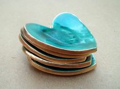 FIVE  itty bitty Ceramic Heart ring bowls Malachite by dgordon, $15.00