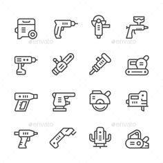 Set Line Icons of Electric Tools - Man-made objects Objects                                                                                                                                                                                 More