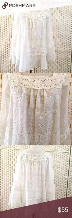 Sundance Everything To Love Tunic Eyelet lace detail, square neck, ruffled hem, tonal embroidery. cotton/nylon. Dry clean. Size small (4-6). NWOT. Sundance Tops Tunics