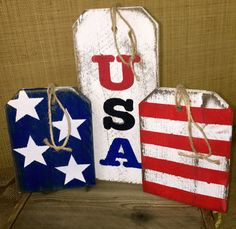 """USA, Stars 'n' Stripes Rustic Large Wood """"Gift"""" Tags »  Handmade & Painted, Rustic Distressed  """"Pallet"""" Wood Sign"""