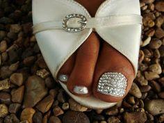 48 Trendy wedding nails for bride bling swarovski crystals Wedding Toes, Wedding Pedicure, Wedding Nails For Bride, Sparkle Wedding, Wedding Makeup, Toe Nail Art, Toe Nails, Mani Pedi, Manicure And Pedicure