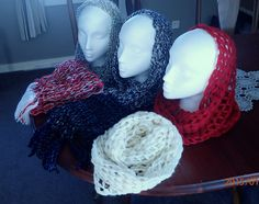 selection of hand braided cowles /snoods in wool