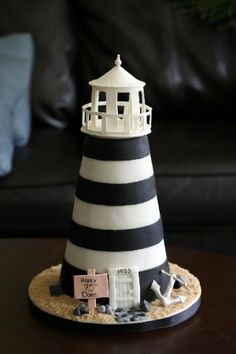 a lighthouse cake! Great cake idea for my moms birthday! Pretty Cakes, Cute Cakes, Beautiful Cakes, Amazing Cakes, Fondant Cakes, Cupcake Cakes, Lighthouse Cake, Lighthouse Wedding, Bolo Cake