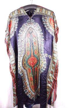 ASHRO CAFTAN Muumuu LONG Tribal Print Multi Color Plus Size FITS MOST NO SCARF #Ashro #CAFTANMuuMuu