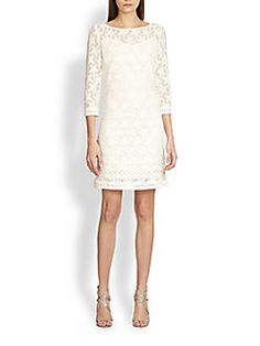 Laundry by Shelli Segal - Lace Shift Dress Ivory Dresses, Formal Dresses, Womens Cocktail Dresses, Laundry By Shelli Segal, Saks Fifth Avenue, Dress Outfits, White Dress, Clothes For Women, Elegant