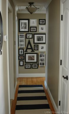 New hallway rug and gallery wall. New hallway rug and gallery wall. I hope you all had a fabulous weekend! I got to spend some quality. Hallway Rug, Upstairs Hallway, Hallway Ideas, Wall Ideas, Long Hallway, Hallway Pictures, Foyer, Small Hallways, Wall Decor