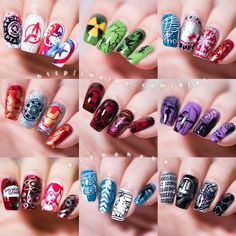 [hēhē™plus]The Super Hero Collection aiyoohehe[hēhē™plus]Nail Art Stamping Plates Designed by Haiyan.The Super Hero Collection Simple Wedding Nails, Wedding Nails Design, Simple Nails, Simple Nail Art Designs, Beautiful Nail Designs, Cute Nail Designs, Marvel Nails, Avengers Nails, Nail Art Diy