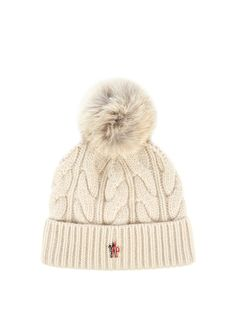 Moncler Grenoble Fur-pompom knitted beanie hat b69d031bbba