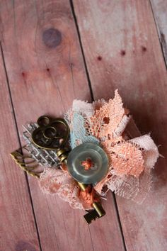 Vintage Key Boutonniere  Key Burlap Lace and Vintage by dustyLuck