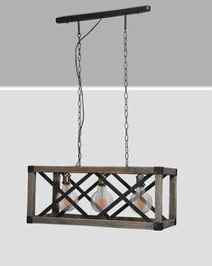 Three bulb wood hanging lamp - Home Decor Rustic Light Fixtures, Rustic Lamps, Rustic Lighting, Rustic Decor, Wooden Chandelier, Wooden Lamp, Wooden Decor, Driftwood Lamp, Handmade Home Decor