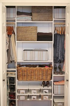 "this type of basket is a great idea as makeshift ""drawers"" for narrow shelving. Why don't I ever remember that??"