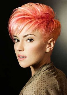 Quite Charming and Fabulous Pixie Reduce with Amazing Bangs and Great Hues of Red, Pink, and Orange #haircuts