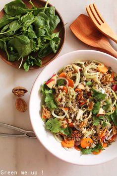 salade orge lentilles légumes Mon verdict : un peu fade avec juste le vinaigre de cidre. Couper les carottes plutôt au rasoir à julienne. Ai rajouté du granola salé et une petite sauce vinaigrette au tahin/tamari/huile/moutarde