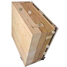 Konštrukcia obvodovej steny celková hrúbka 400 mm, U = 0,16 W/(m2 . K) 1 - Nosné lepené lamelové hranoly ČDZ Tesko, profil (š × v) 120 × 200 mm 2 - Drevovláknitá tepelná izolácia Steico 2 × 100 mm 3 - Zvislý a vodorovný rošt zfošní 2 × 40/100 mm 4 - Drevovláknitá ochranná izolácia Egger DHF 15 mm 5 - Prevetrávaná medzera 45 mm, zvislý rošt 45/60 mm 6 - Fasáda zcementovláknitých dosiek Cemvin 8 – 20 mm
