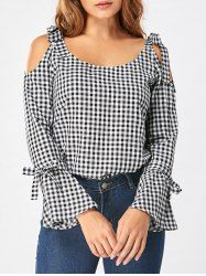 Tie Shoulder Flare Sleeve Gingham Blouse - Black White L Mobile Cheap Blouses, Cute Blouses, Blouses For Women, Super Moda, Black Blouse, Blouse Designs, Gingham, Casual Outfits, Sleeves