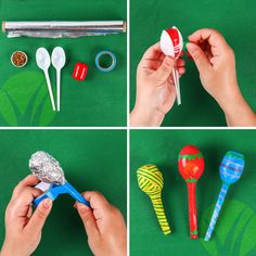 Shake, shake, shake your maracas! Take plastic eggs and fill them with rice or beans. Place the eggs between the heads of two spoons and tape it in place. You can also wrap the spoons and egg in tinfoil and tape the outside for a smoother finish. Then just shake, shake, shake. Another option would be to fill empty water bottles with beans or rice and paint the outside with festive colors.