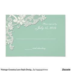 Vintage Country Lace Style Design Mint Response