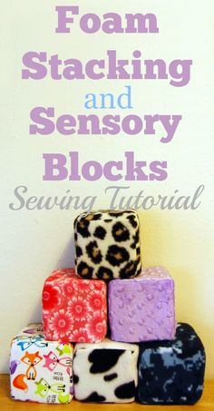 Quick tutorial for how to make these great stacking blocks for toddlers or sensory toy blocks for babies. They're filled with foam instead of stuffing so they hold their shape better, but they're still machine washable! #sewing #tutorial #babytoys