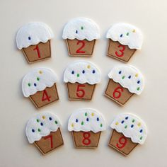 Counting Game - Number Game - Soft - Felt Cupcake- Educational Toy - Toddler - Preschool - Learning Game