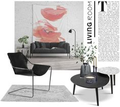 A modern living room that combines minimal black furniture with red floral wall decor and stylish decorative items. #livingroom #homedecor #decoration #homestyle #decoratingideas #blackdecor #urbanchic #modern #getthestyle #floralwallart #moodboard