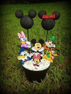 Centros de mesa para fiesta de la Casa de Mickey.