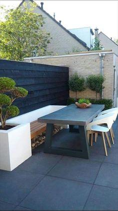 Terrace bench hard landscaping ideas, backyard landscaping, back gardens, Garden Seating, Terrace Garden, Outdoor Seating, Back Gardens, Small Gardens, Outdoor Gardens, Backyard Patio, Backyard Landscaping, Hard Landscaping Ideas