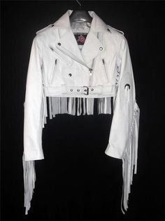 White fringe leather jacket style LLJ7017 now for sale at eBay.