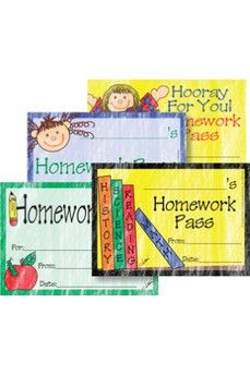 Homework Pass Set 40/Pkg Assorted