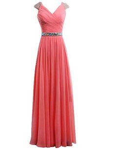 Dress U Cap Sleev V-neck Crystals Waist Chiffon Prom Gown Bridesmaid Dress Long Coral US 2 Dress U http://www.amazon.com/dp/B00V34MOYW/ref=cm_sw_r_pi_dp_lrlhvb1YBMFC7