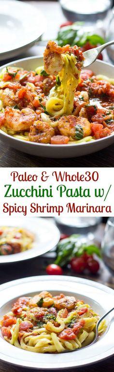 Paleo zucchini pasta with spicy shrimp marinara that's Whole30 friendly, gluten free, dairy free, great healthy weeknight dinner!