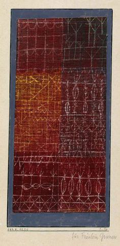 Paul Klee, Curtain, 1924. Watercolor on madder- and glue-primed linen, bordered with watercolor on the cardboard mount, linen: 7 1/8 x 3 5/8 inches (18.1 x 9.2 cm); border: 8 1/16 x 4 inches (20.4 x 10.1 cm); mount: 11 1/8 x 6 3/4 inches (28.2 x 17.2 cm)