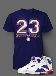 b2568b963303d2 T Shirt To Match Retro Air Jordan 7 Olympic Shoe Custom Mens Tee Design  Sizing S M L. Vegas Big and Tall