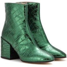 Embossed metallic leather ankle boots Dries Van Noten