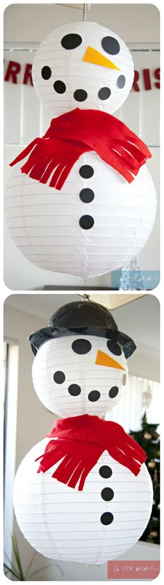 Christmas ● DIY ● Tutorial ● Snowman from lanterns