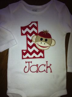 sock monkey birthday onesie