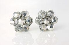 Vintage silver AB Swarovski crystal Earrings Comet by RMSjewels, $16.00