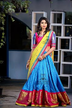 Teja sarees is a one Stop Store for everyone who loves Designer Outfits. Teja sarees recently launched their new beautiful wedding lehenga collection for all the brides. Kerala Saree Blouse Designs, Half Saree Designs, Lehenga Designs, Indian Designer Outfits, Indian Outfits, Teja Sarees, Half Saree Function, Half Saree Lehenga, Banarasi Lehenga