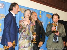 andrew lincoln melissa mcbride greg nicotero and scott gimple at the Saturn Awards with their wins for The Walking Dead. love.