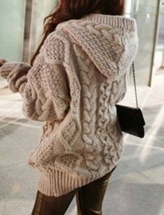 Stylish Women's Cable-Knit Hooded Cardigan,sweaters