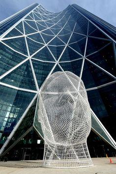 Jaume Plensa / Wonderland - Bow Tower in Calgary, Alberta. Unique Buildings, Amazing Buildings, O Canada, Alberta Canada, Calgary, Beautiful Architecture, Architecture Design, Alberta Travel, Vancouver